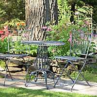 Blue Table and Folding Chairs 3-Pc. Bistro Set