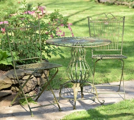 Green Table and Folding Chairs 3-Pc. Bistro Set