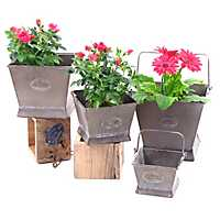 Square Iron Planters with Handles, Set of 4