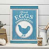 Wooden Farm Raised Eggs Sign
