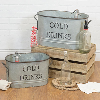 Metal Oval Cold Drinks Bucket, Set of 2
