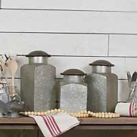 Rustic Metal Canisters, Set of 3