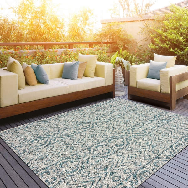 F Azure Terrace Sun Shower Outdoor Area Rug 8x10
