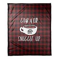 Grab A Cup and Snuggle Up Plaid Fleece Throw