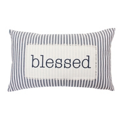 Blessed Ticking Stripe Accent Pillow