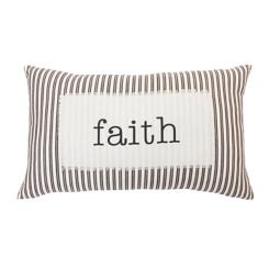 Faith Ticking Stripe Accent Pillow
