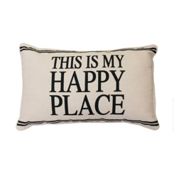 Black This is My Happy Place Accent Pillow