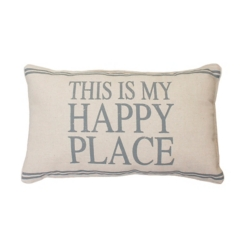 Gray This is My Happy Place Accent Pillow