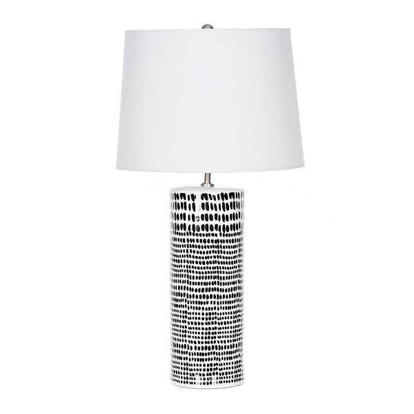 Charmant Black Dot White Ceramic Table Lamp