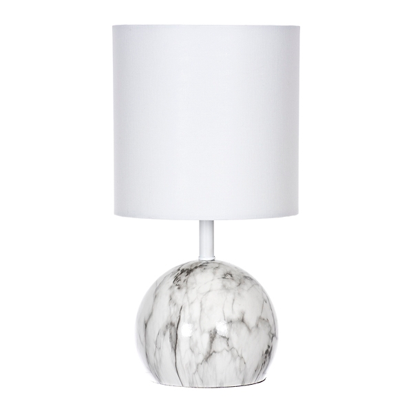 Genial White And Gray Marble Table Lamp