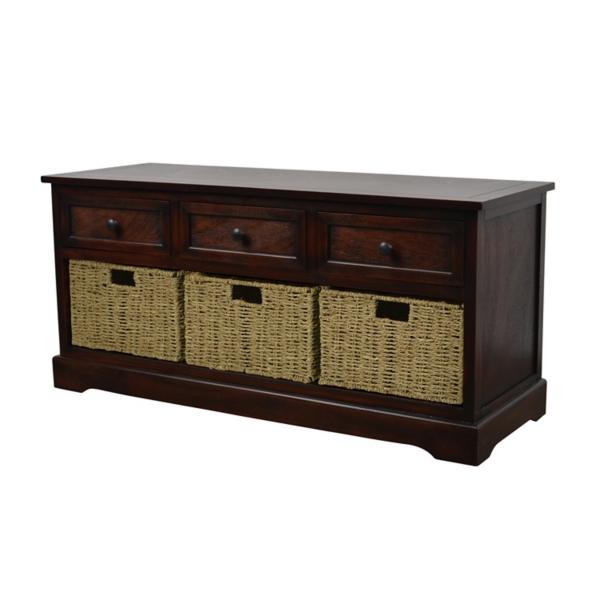Antique Mahogany Wicker Basket Storage Bench  sc 1 st  Kirklands & Ottomans | Benches | Storage Benches | Kirklands