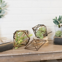 Metal Rhombus Shaped Sculptures, Set of 3