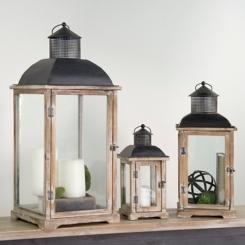 Natural Wood and Metal Lanterns, Set of 3