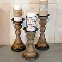 Natural Wooden Candle Holders, Set of 3