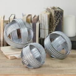 Galvanized Woven Spheres, Set of 3
