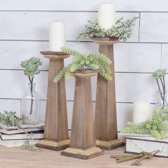 Natural Wooden Pedestal Candle Holders, Set of 3