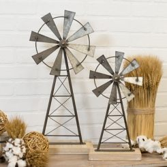 Metal and Wood Windmills, Set of 2