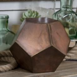 Bronze Metal Hexagon Sculpture