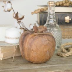 Brown Carved Apple Figurine