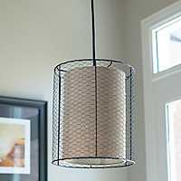 Large Cooper Chicken Wire and Burlap Pendant Light