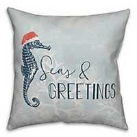 Blue Seas and Greetings Seahorse Pillow