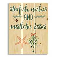 Starfish Wishes and Mistletoe Kisses Pallet Plaque