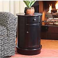 Kiley Round Black Storage Side Table