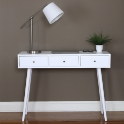 Anna Cream Mid-Century 3-Drawer Wood Console Table