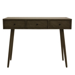 Anna Gray Mid-Century 3-Drawer Wood Console Table