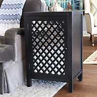 Leah Mirrored Quatrefoil Black Storage Side Table