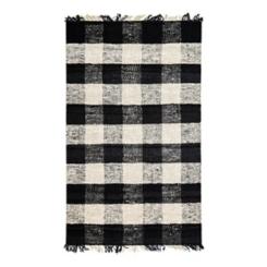 Black and White Buffalo Check Glen Area Rug, 5x7
