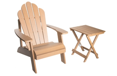 Natural Wood Adirondack Chair and Table 2-Pc. Set