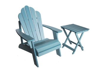 Teal Blue Wood Adirondack Chair and Table Set