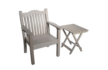 Gray Slatted Wood Chair and Table 2-Pc. Set