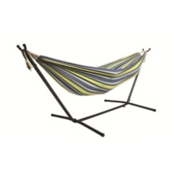 Blue Green Double Hammock with Stand and Carry Bag