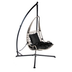 Gray Wicker Hanging Swing with Black Cushions