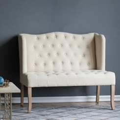 Tufted Ivory Linen Wingback Settee