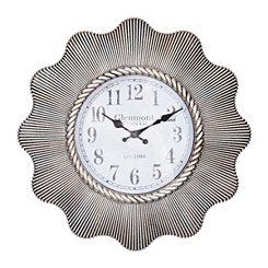 Aged Silver Ripple Weave Abbi Wall Clock