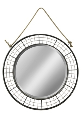 Black Woven Metal with Hanging Rope Wall Mirror