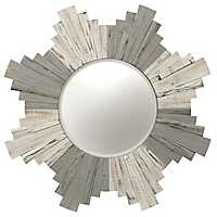 Distressed White Wash Starburst Wall Mirror