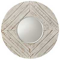 Distressed White Wash Weathered Wall Mirror