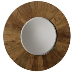 Natural Tone Wood Beveled Wall Mirror