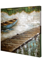 Wooden Slat Panel Coastal Art Print
