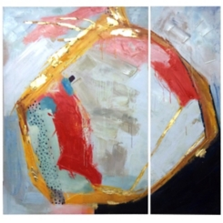 Contemporary Textured Canvas Art Prints, Set of 2