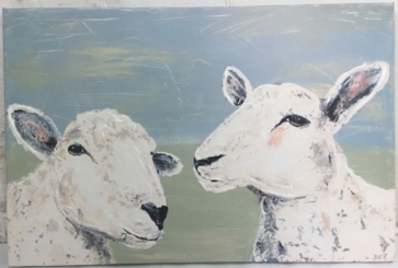 Sheep Duo Hand Embellished Canvas Art Print