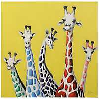 Giraffe Family Hand Embellished Canvas Art Print