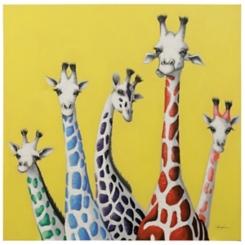 Giraffe Family Hand Embellished Canvas Art Print