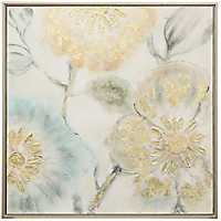 Soft Floral Hand Painted Framed Canvas Art Print