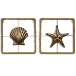 Metal Woven Edged Star and Shell Plaques, Set of 2