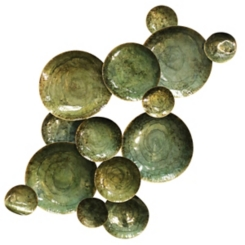 Green Glossy Circles Wall Sculpture